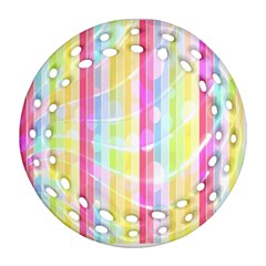 Abstract Stipes Colorful Background Circles And Waves Wallpaper Round Filigree Ornament (two Sides) by Nexatart