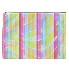 Abstract Stipes Colorful Background Circles And Waves Wallpaper Cosmetic Bag (xxl)  by Nexatart