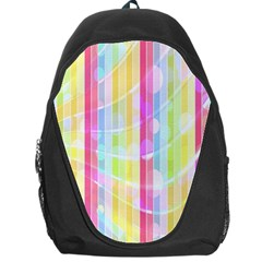 Abstract Stipes Colorful Background Circles And Waves Wallpaper Backpack Bag by Nexatart