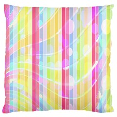Abstract Stipes Colorful Background Circles And Waves Wallpaper Standard Flano Cushion Case (one Side) by Nexatart