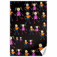 Kids Tile A Fun Cartoon Happy Kids Tiling Pattern Canvas 24  X 36  by Nexatart