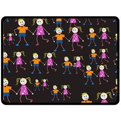 Kids Tile A Fun Cartoon Happy Kids Tiling Pattern Double Sided Fleece Blanket (large)