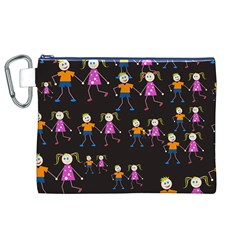 Kids Tile A Fun Cartoon Happy Kids Tiling Pattern Canvas Cosmetic Bag (xl) by Nexatart