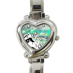 Small And Big Bubbles Heart Italian Charm Watch by Nexatart