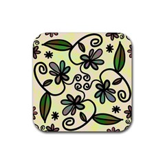 Completely Seamless Tileable Doodle Flower Art Rubber Square Coaster (4 Pack)  by Nexatart
