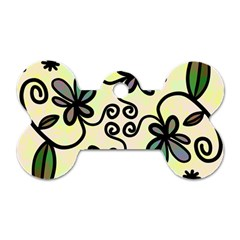 Completely Seamless Tileable Doodle Flower Art Dog Tag Bone (two Sides) by Nexatart