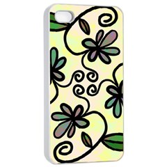 Completely Seamless Tileable Doodle Flower Art Apple Iphone 4/4s Seamless Case (white) by Nexatart