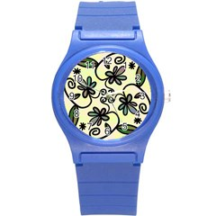 Completely Seamless Tileable Doodle Flower Art Round Plastic Sport Watch (s) by Nexatart