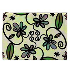 Completely Seamless Tileable Doodle Flower Art Cosmetic Bag (xxl)  by Nexatart