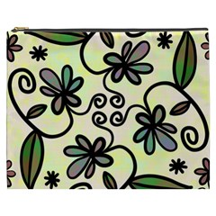 Completely Seamless Tileable Doodle Flower Art Cosmetic Bag (xxxl)  by Nexatart