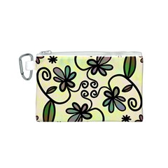Completely Seamless Tileable Doodle Flower Art Canvas Cosmetic Bag (s) by Nexatart
