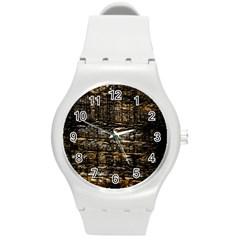 Wood Texture Dark Background Pattern Round Plastic Sport Watch (m) by Nexatart