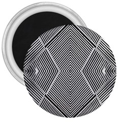 Black And White Line Abstract 3  Magnets by Nexatart