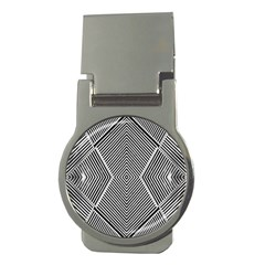 Black And White Line Abstract Money Clips (round)  by Nexatart