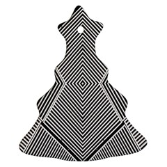 Black And White Line Abstract Ornament (christmas Tree)  by Nexatart