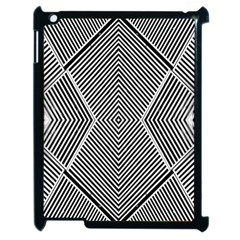 Black And White Line Abstract Apple Ipad 2 Case (black) by Nexatart
