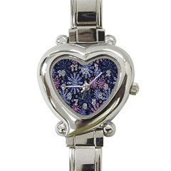 Pixel Pattern Colorful And Glittering Pixelated Heart Italian Charm Watch by Nexatart