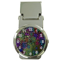 Grunge Rose Background Pattern Money Clip Watches by Nexatart