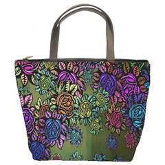 Grunge Rose Background Pattern Bucket Bags by Nexatart
