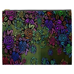 Grunge Rose Background Pattern Cosmetic Bag (xxxl)  by Nexatart
