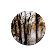 Fall Forest Artistic Background Rubber Round Coaster (4 Pack)  by Nexatart