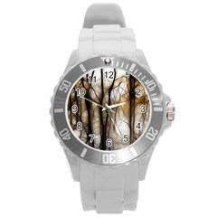 Fall Forest Artistic Background Round Plastic Sport Watch (l) by Nexatart