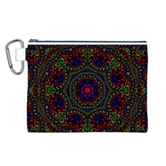 Rainbow Kaleidoscope Canvas Cosmetic Bag (l) by Nexatart