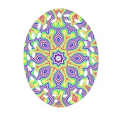 Rainbow Kaleidoscope Oval Filigree Ornament (two Sides) by Nexatart