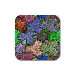 Background With Color Kindergarten Tiles Rubber Square Coaster (4 Pack)  by Nexatart