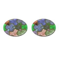 Background With Color Kindergarten Tiles Cufflinks (oval) by Nexatart
