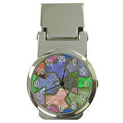 Background With Color Kindergarten Tiles Money Clip Watches by Nexatart