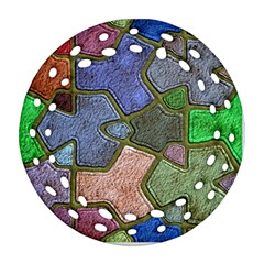 Background With Color Kindergarten Tiles Round Filigree Ornament (two Sides) by Nexatart
