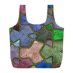 Background With Color Kindergarten Tiles Full Print Recycle Bags (l)  by Nexatart
