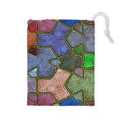 Background With Color Kindergarten Tiles Drawstring Pouches (large)  by Nexatart