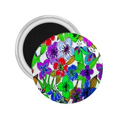 Background Of Hand Drawn Flowers With Green Hues 2 25  Magnets by Nexatart
