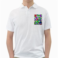 Background Of Hand Drawn Flowers With Green Hues Golf Shirts