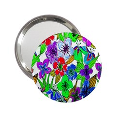 Background Of Hand Drawn Flowers With Green Hues 2 25  Handbag Mirrors by Nexatart