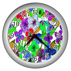 Background Of Hand Drawn Flowers With Green Hues Wall Clocks (silver)  by Nexatart