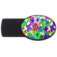 Background Of Hand Drawn Flowers With Green Hues Usb Flash Drive Oval (2 Gb)