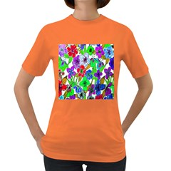 Background Of Hand Drawn Flowers With Green Hues Women s Dark T Shirt