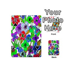 Background Of Hand Drawn Flowers With Green Hues Playing Cards 54 (mini)  by Nexatart