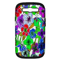 Background Of Hand Drawn Flowers With Green Hues Samsung Galaxy S Iii Hardshell Case (pc+silicone) by Nexatart