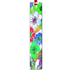 Background Of Hand Drawn Flowers With Green Hues Large Book Marks by Nexatart