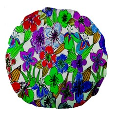 Background Of Hand Drawn Flowers With Green Hues Large 18  Premium Flano Round Cushions by Nexatart