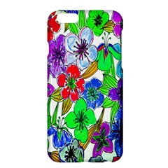 Background Of Hand Drawn Flowers With Green Hues Apple Iphone 6 Plus/6s Plus Hardshell Case by Nexatart