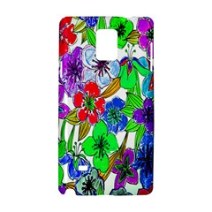 Background Of Hand Drawn Flowers With Green Hues Samsung Galaxy Note 4 Hardshell Case