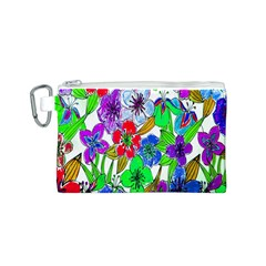 Background Of Hand Drawn Flowers With Green Hues Canvas Cosmetic Bag (s) by Nexatart