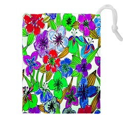 Background Of Hand Drawn Flowers With Green Hues Drawstring Pouches (xxl) by Nexatart