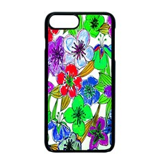 Background Of Hand Drawn Flowers With Green Hues Apple Iphone 7 Plus Seamless Case (black) by Nexatart