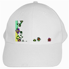 Floral Border Cartoon Flower Doodle White Cap by Nexatart